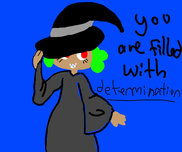Determined witch tips her hat