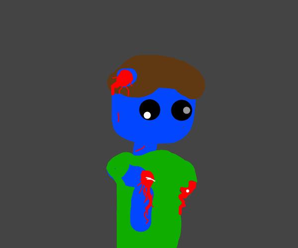 Blue zombie guy