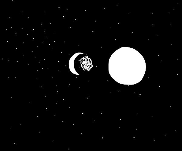 strange orange glob orbits the sun w/ moon