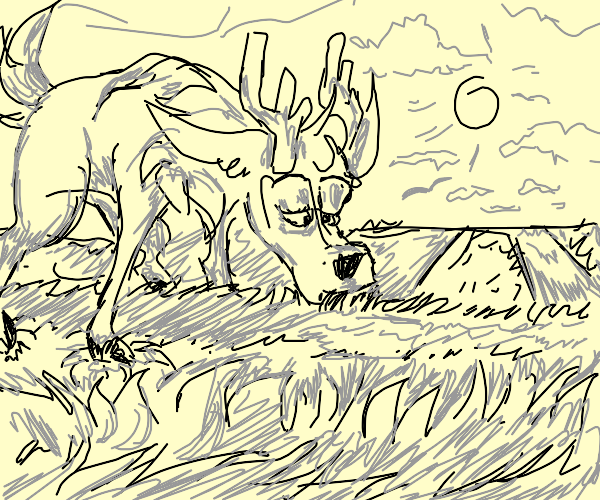Reindeer eating grass