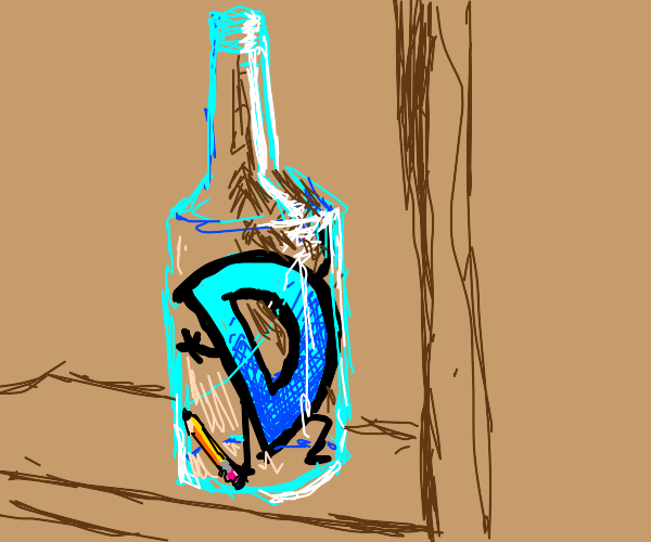 Drawception logo in a bottle