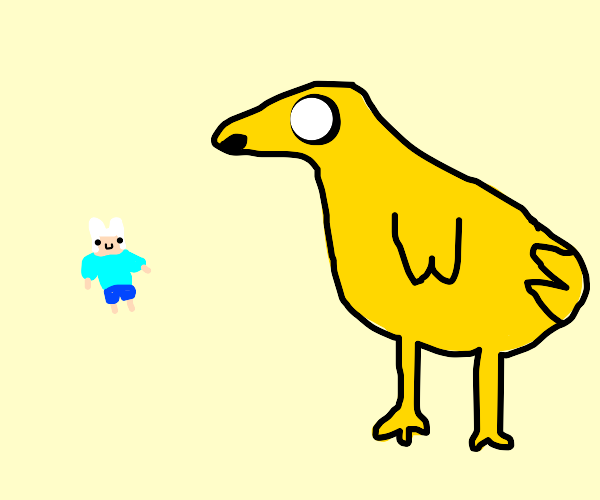 Jake the dog shapeshifted into a Goose.
