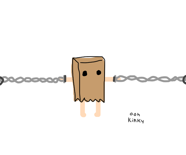 Tied up guy wearing a paper bag