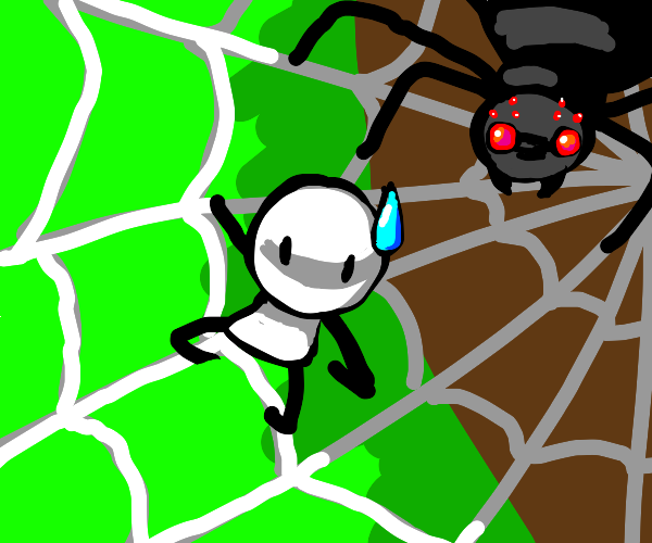 Tiny man in a happy spider's web