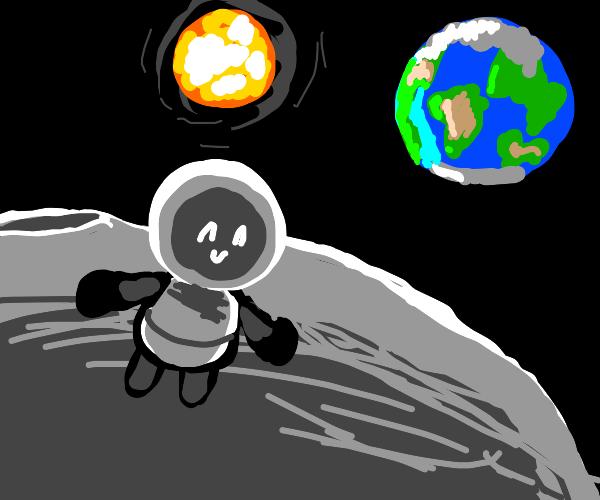 Successful moon landing, astronaut satisfied!