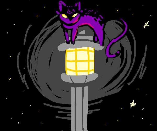 Purple cat-like creature on a lamp post.