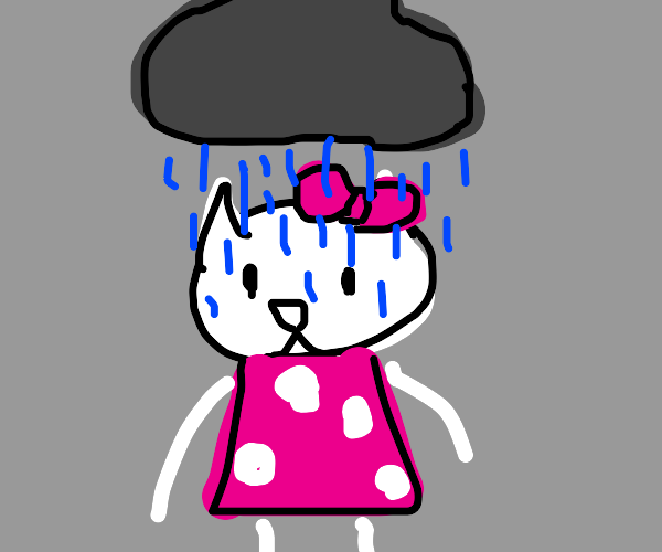 Hello kitty with a rain cloud above her head