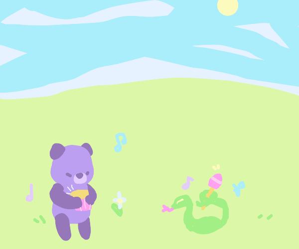 Snake and bear making music