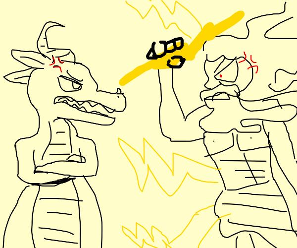 Dragonsaur argues with zeus