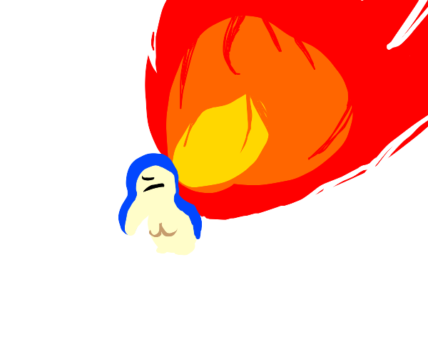 cyndaquill but his quills are way too big