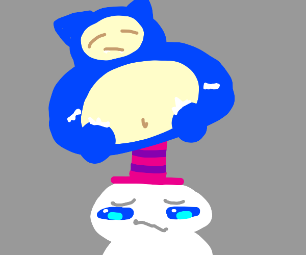 snorlax sits on man with purple top hat