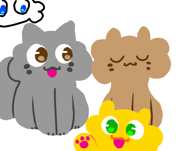 A gaggle of fluffy cats