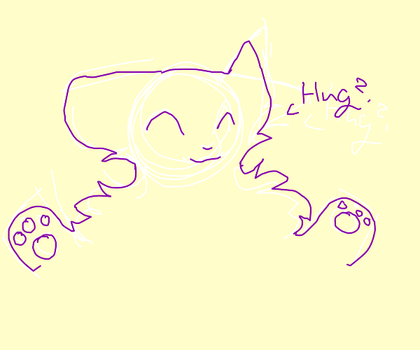 Purple cat wants a hug