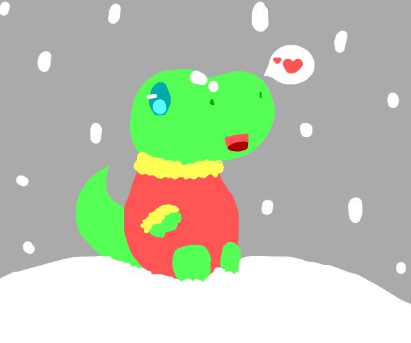 Happy dinosaur in a wool jumper