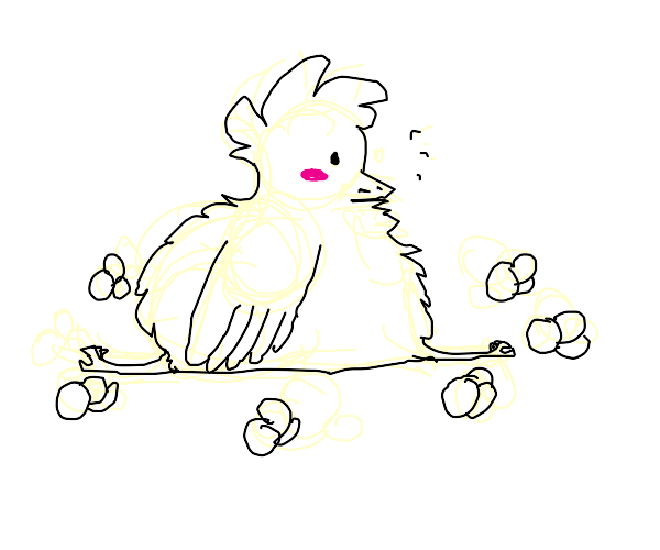 Fat bird surrounded by popcorn