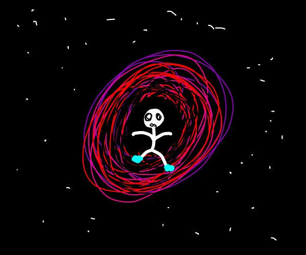 A stickman with blue boots going into a void