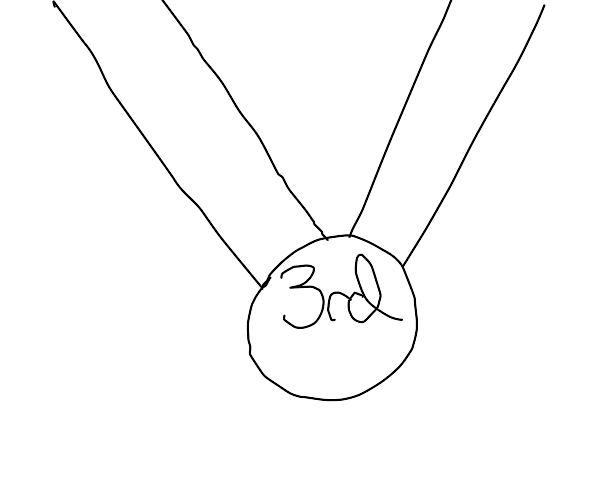 """a medal with """"3rd place"""" written on it"""