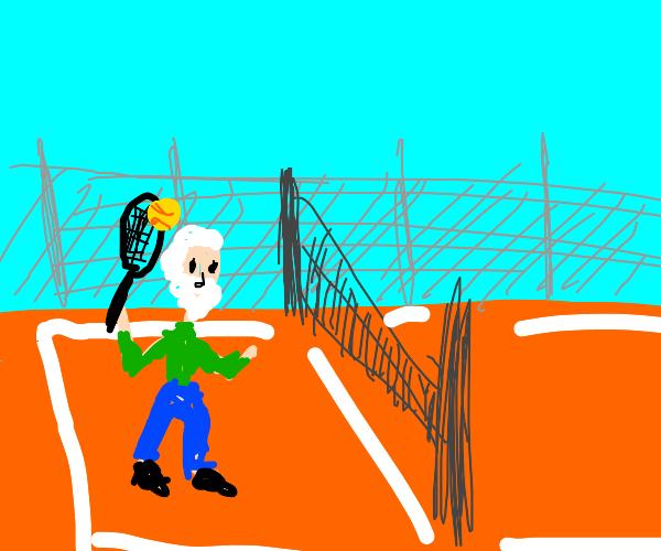 Albert Einstein playing tennis