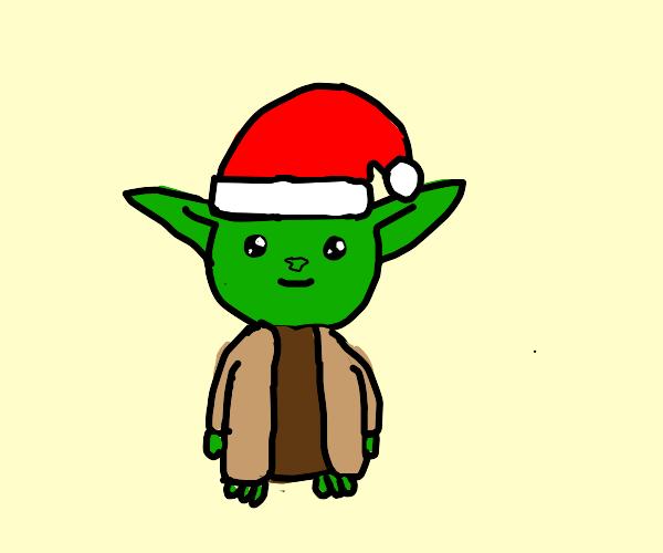 Yoda wearing a Santa hat