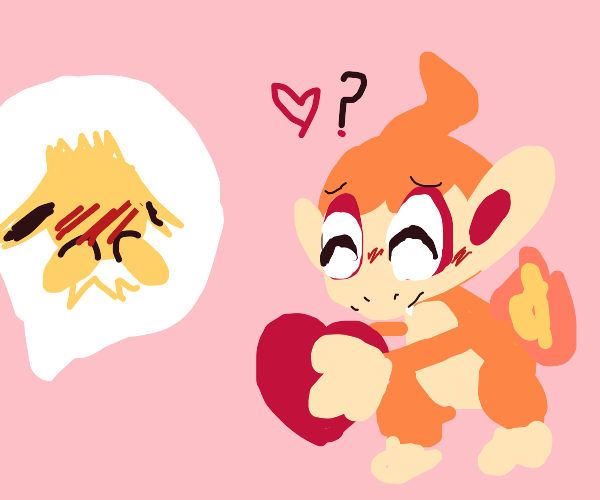 Chimchar and Jolteon in love