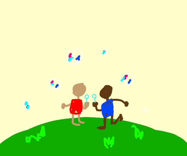 Siblings blowing bubbles :)