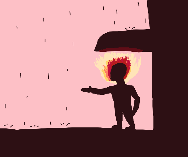 Fire-headed person nervous about rain