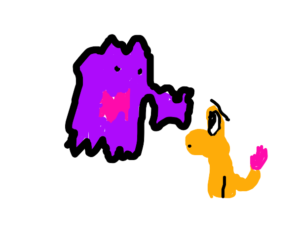 A Charmander is scared of A Haunter(?)