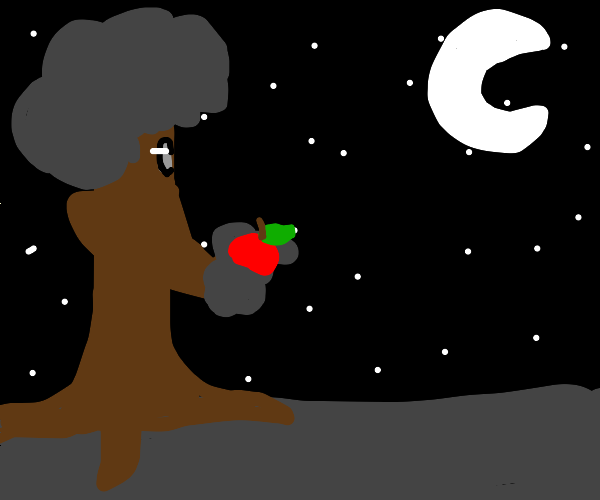 Tree person gazes at moon while holding fruit
