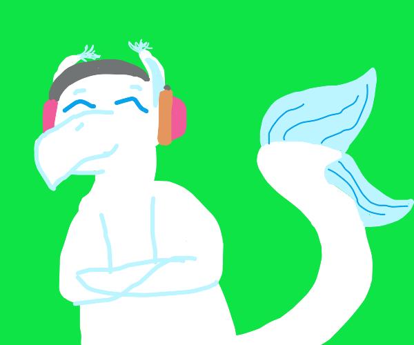 White dragon listening to music