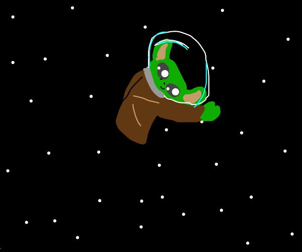 Grogu in space, with space helmet