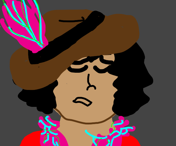 Heartbroken Pirate chick with a feather boa