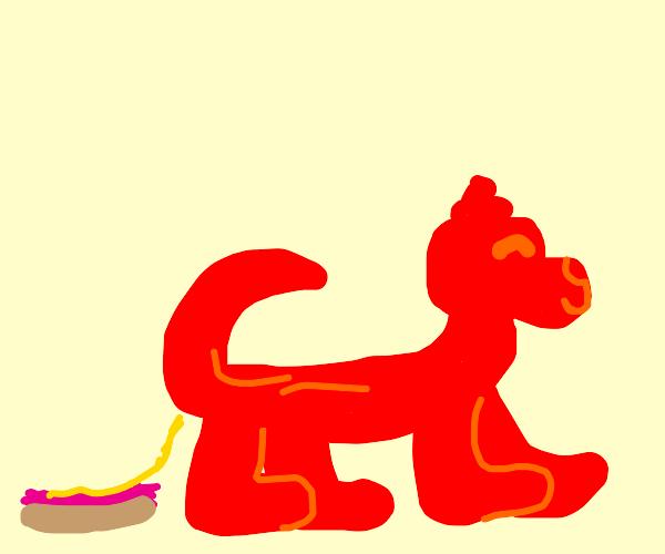 ketchup dog pooping on a hotdog