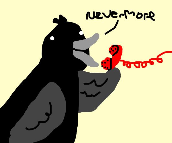 Edgar Allan Poe's Raven on the phone