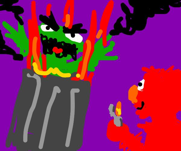 Elmo set Oscar on fire