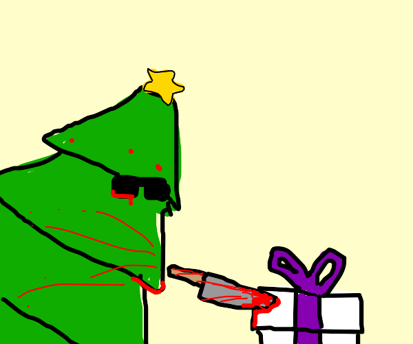 Christmas tree wages war against presents