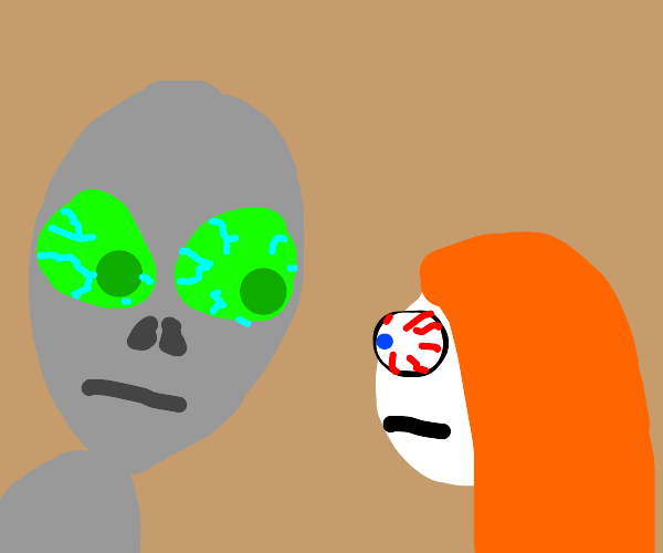 red hair girl and alien stare at each other