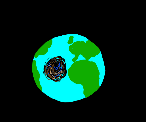 A hole in the earth.
