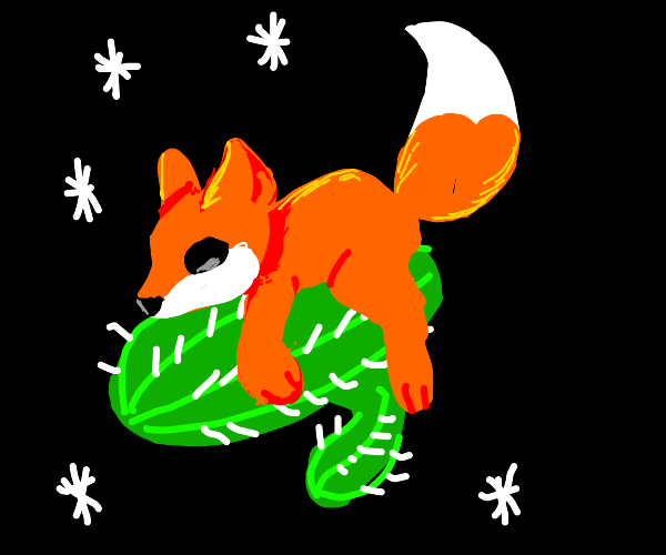 Fox riding a cactus in space