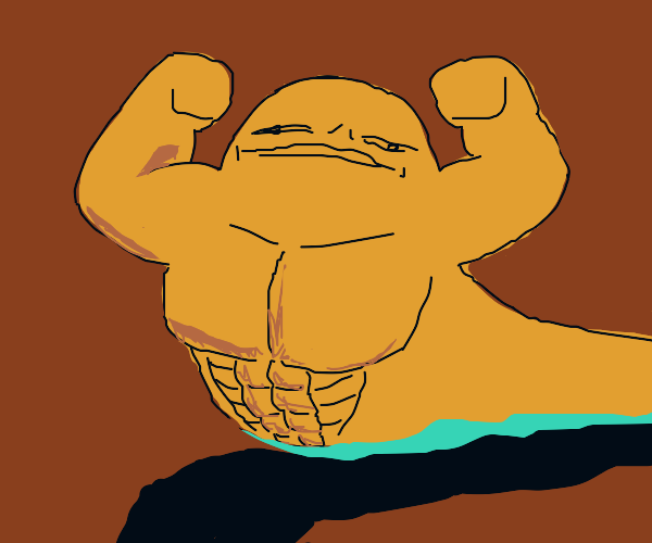 beefy jabba the hut showing off the guns