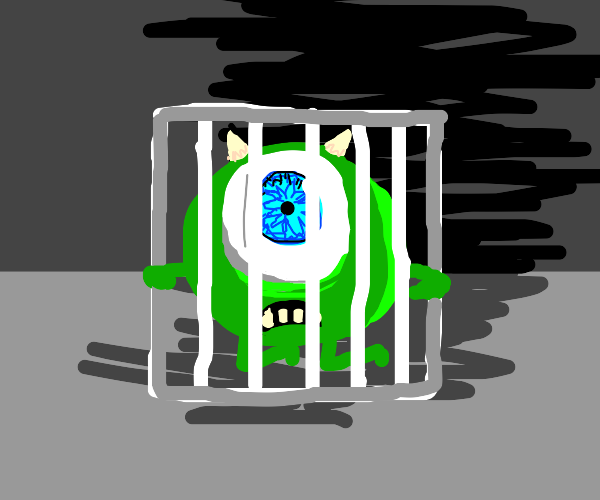 Mike wazowski is stuck in a cage