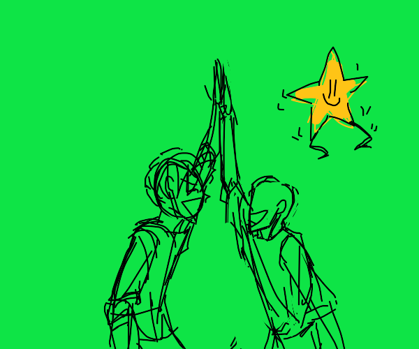 Two people high five while a star shakes its