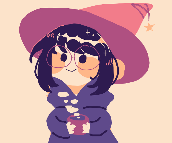 cute witch drinking tea