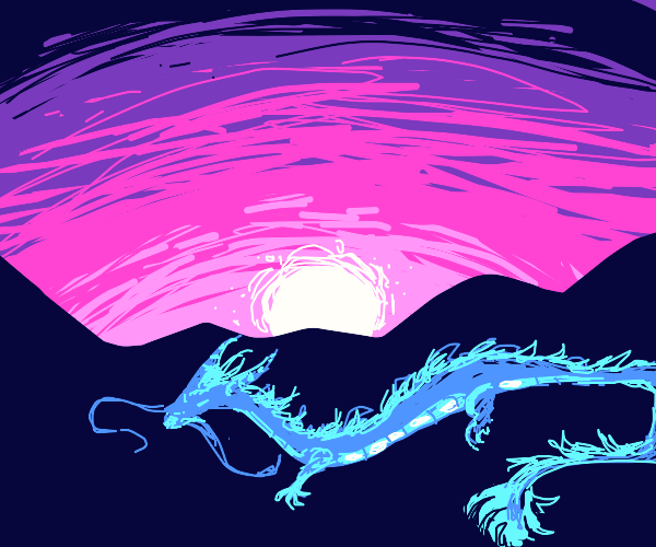 Chineese dragon flying in sunset