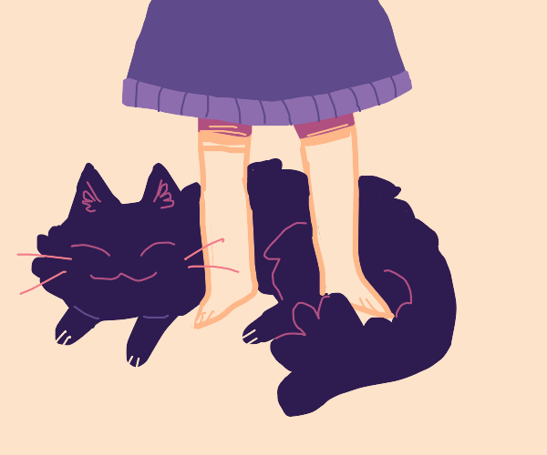Cat loves sitting at girl's feet