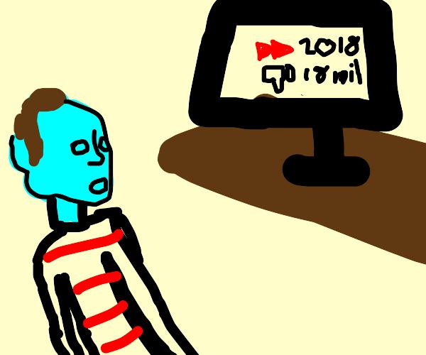 Blue Headed guy Watching Mass-Disliked video