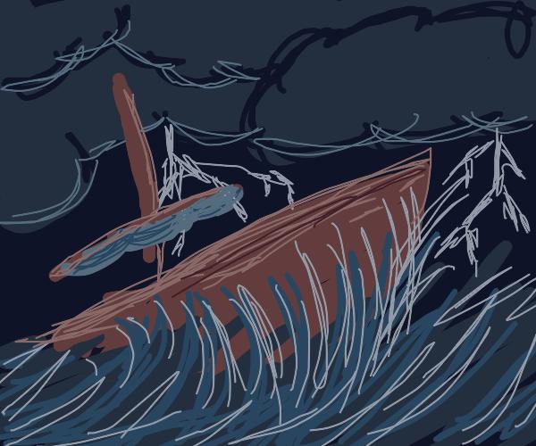 A Ship Sailing during a thunder storm