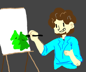 Bob Ross paints happy little trees