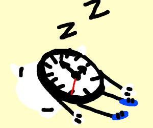 A sentient clock sleeping on a pillow