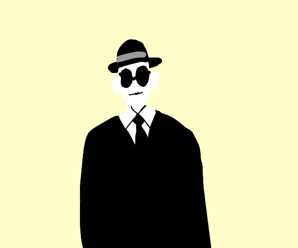 very pale man with tie, glasses and hat