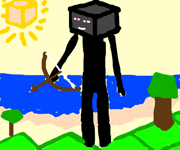 Enderman with a bow having nice day